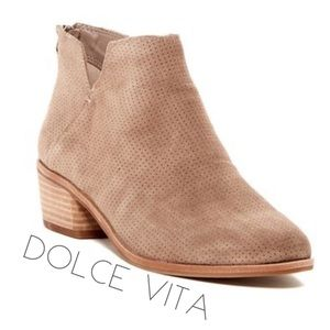 Dolce Vita perforated taupe suede booties boot 8.5